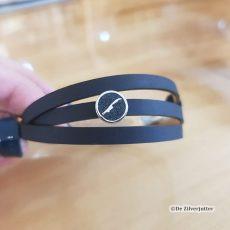DUR-A1637-199 Zwart leren armband met Lava Vlieland