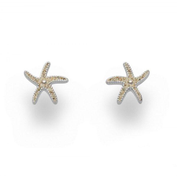 """O4920 Zilveren Oorbellen-stekers """"Starfish II"""" zeesterren gevuld met zeezand - Zilverjutter"""