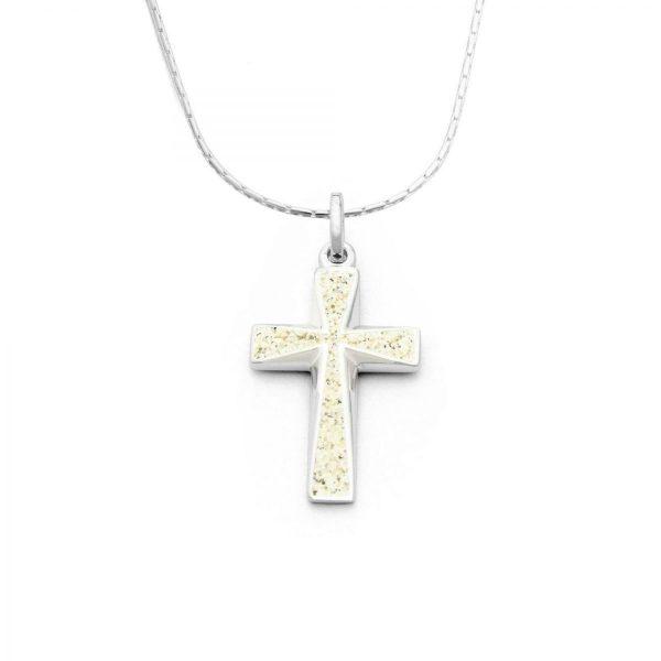 "P3136-Zilveren kruisje-crucifix ""Strandzand Kruis"" opgevuld met zeezand - Zilverjutter"
