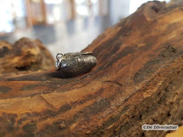 Zilveren boormossel schelphanger geoxideerd