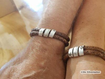 leren armbanden met zilveren maritiem ornament